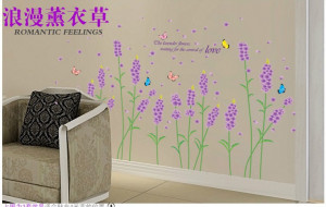 Lavender flowers butterfly photo wallpaper novelty stickers family ...