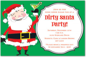 Dirty Santa Christmas Party Invitations