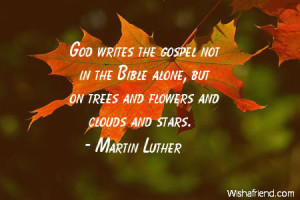 God writes the gospel not in the Bible alone, but on trees and flowers ...