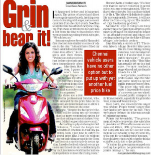 Chennai times quotes me on fuel price hike