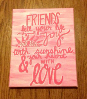 Canvas Quote Friend Quote - Pink Friendship Canvas Quote