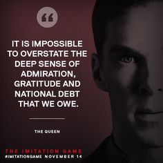 THE IMITATION GAME (2014) ~ Promotional graphic with quote about Alan ...