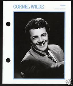 CORNEL WILDE Atlas Movie Star Picture Biography CARD
