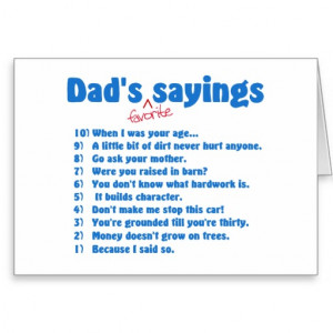 Dads favorite sayings cards