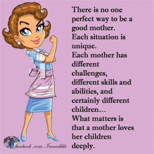 perfect way to be a good mother. Each situation is unique. Each mother ...