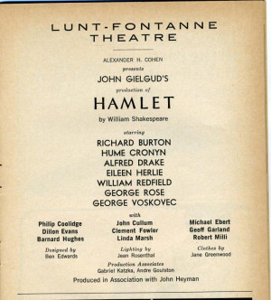 Buy Entertainment Memorabilia - HAMLET Playbill Richard Burton May ...