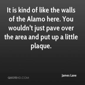 It is kind of like the walls of the Alamo here. You wouldn't just pave ...