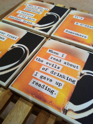 Beer coasters - Funny quotes - DRINK UP