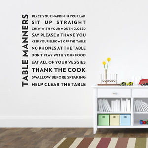 Table-Manners-Dinner-Lunch-Food-Breakfast-Art-Vinyl-Decal-Wall-Quote ...