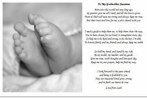 ... for her godchild, As the lord gives a nod from above She was chosen