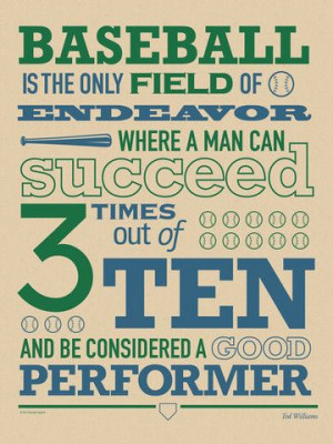 Zipsty - Baseball Poster, Ted Williams Quote