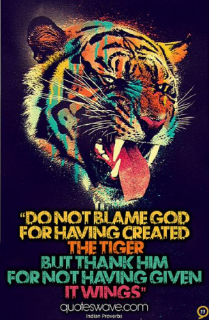 Tiger Quotes And Sayings Having created the tiger,