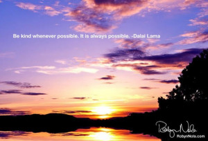 Inspirational Quote by The Dalai Lama and a beautiful sunset