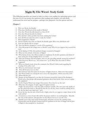 Night By Elie Wiesel Study Guide ENGLISH