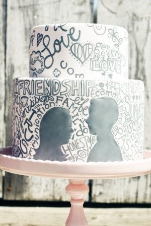 Amazing! Silhouette & Love Quote Cake #food #valentine | looks like a ...