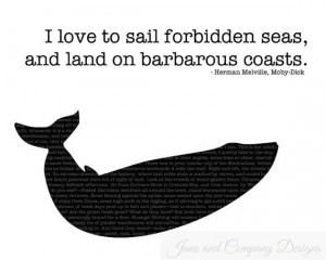 Moby Dick Quote Print, Forbidden Seas, Whale Silhouette, Gift for ...