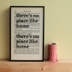 ... Like Home Housewarming Gift Wizard of Oz Quote on Vintage Book Page