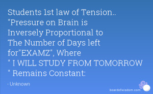 Students 1st law of Tension.. Pressure on Brain is Inversely ...