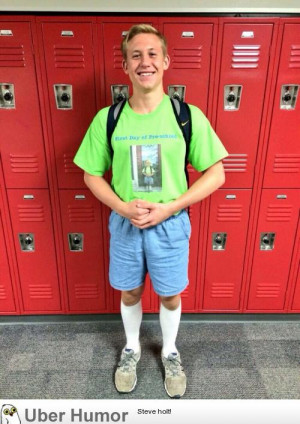 ... outfit on his last day of high school as his first day of preschool