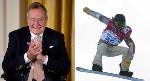 George H.W. Bush (left) and Shaun White are pictured in this composite ...