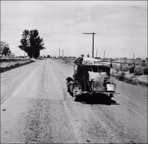 Route 66 travelers during the Dust Bowl