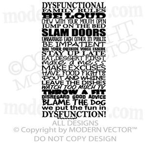 DYSFUNCTIONAL-Family-Rules-Quote-Vinyl-Wall-Decal-Lettering-Family ...