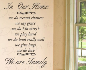 Chance Say Grace I'm Sorry's - Love Home Family - Wall Decal Quote ...