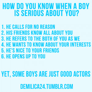 How do you know when a boy is serious about you?