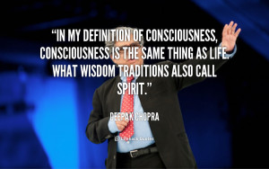 In my definition of consciousness, consciousness is the same thing as ...