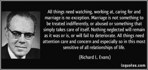 ... marriage is not richard l evans 342387 Quotes About Not Caring