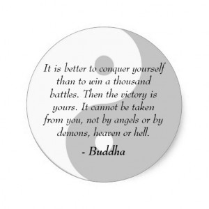 Famous Buddha Quotes - Conquer Yourself Classic Round Sticker