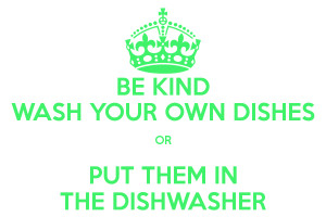 BE KIND WASH YOUR OWN DISHES OR PUT THEM IN THE DISHWASHER