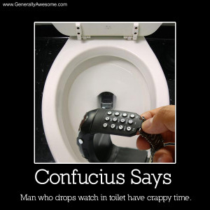 Confucius says, man who drops watch in toilet have crappy time.