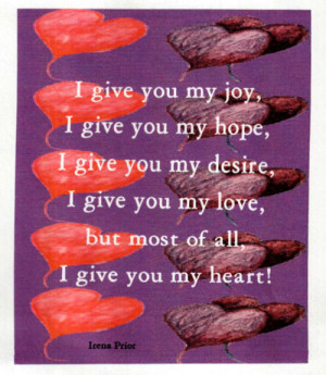 My first Valentine poem: I give you my heart!