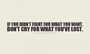 If you didn't fight for what you want, don't cry for what you've ...