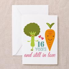 16 Year Anniverary Veggie Couple Greeting Card for