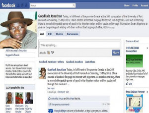 facebook page of Jonathan Goodluck, Nigeria's President