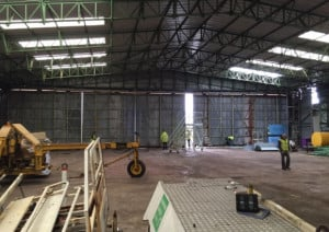 Work has begun on transforming Hanger 42 at Blackpool Airport into a