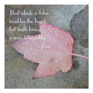 Rumi Quote Pink Leaf Poster print