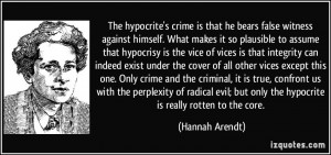 The hypocrite's crime is that he bears false witness against himself ...