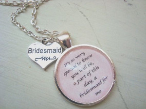 Bridesmaid quote pendant necklace , bridesmaid gifts, bridal jewelry ...