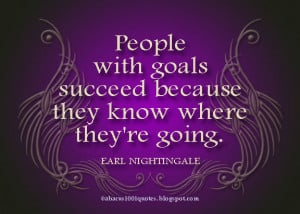... goals succeed because they know where they're going ~ Goal Quote