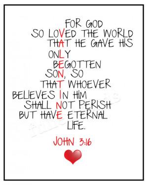 John 3:16 -Bible Verse – Valentines digital printable – 5×7, 8 ...