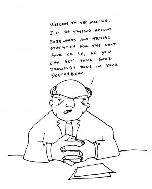 Staff Meeting Cartoons Buzzwords and statistics