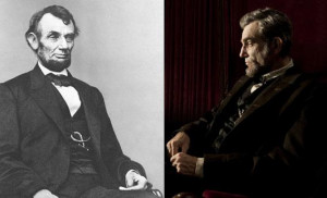 Left: Abraham Lincoln courtesy Library of Congress. Right: Daniel Day ...
