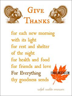 Thanksgiving Printable: Give Thanks, a Ralph Waldo Emerson Poem | www ...