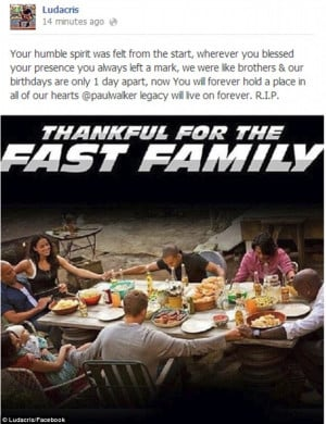 Touching: Ludacris posted this tribute to tragic co-star Paul Walker ...