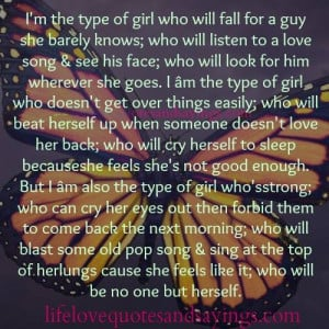 the type of girl who will fall for a guy she barely