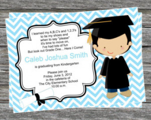 DIY - Boy Pre K or Kindergarten Gra duation Invitation - Coordinating ...