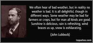 We often hear of bad weather, but in reality no weather is bad. It is ...